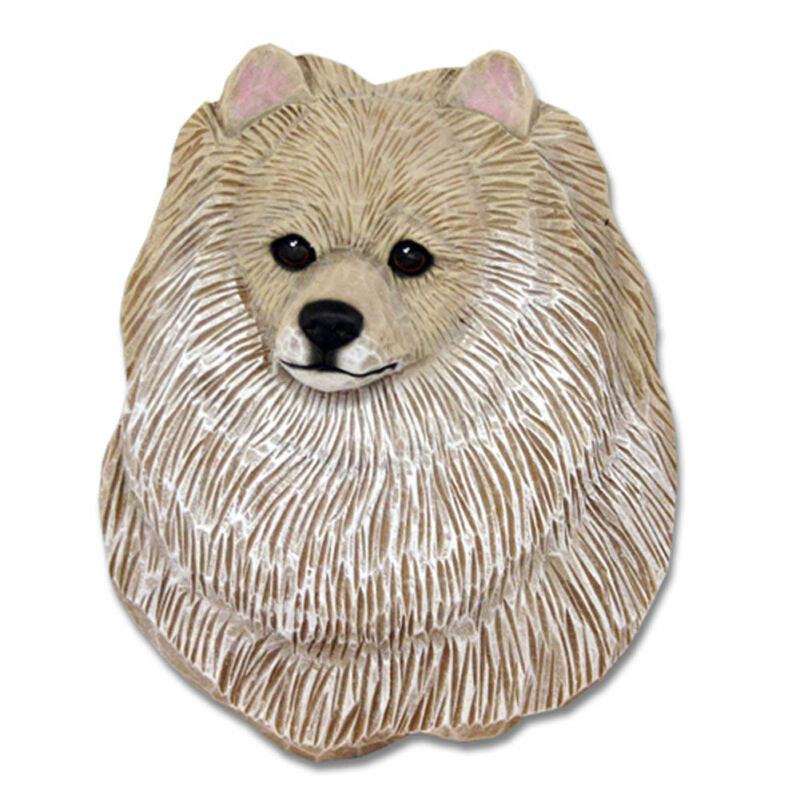 Pomeranian Head Plaque Figurine Cream