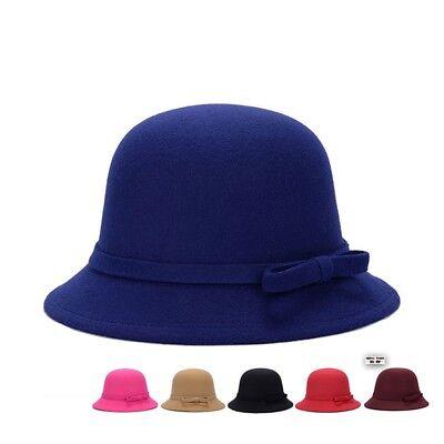 Fashion Women Wool Church Cloche Flapper Hat Lady Bucket Winter Flower Cap (Womans Cloche Hat)