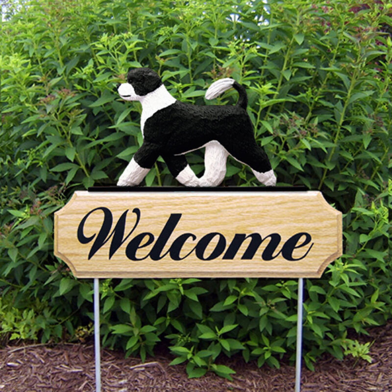 Portuguese Water Dog Wood Welcome Outdoor Sign Black/White