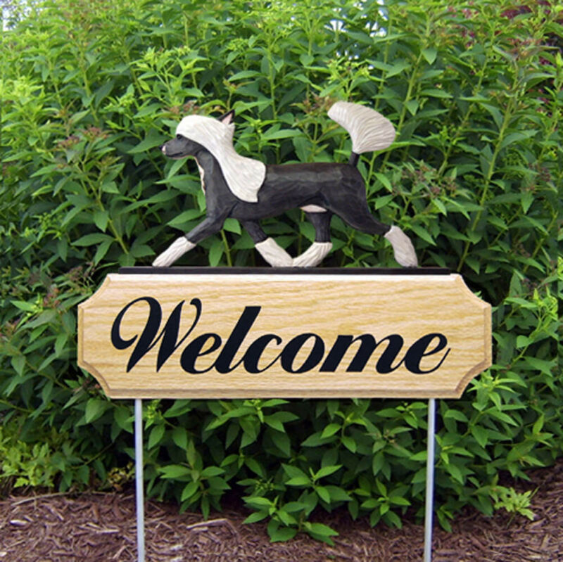 Chinese Crested Wood Welcome Outdoor Sign