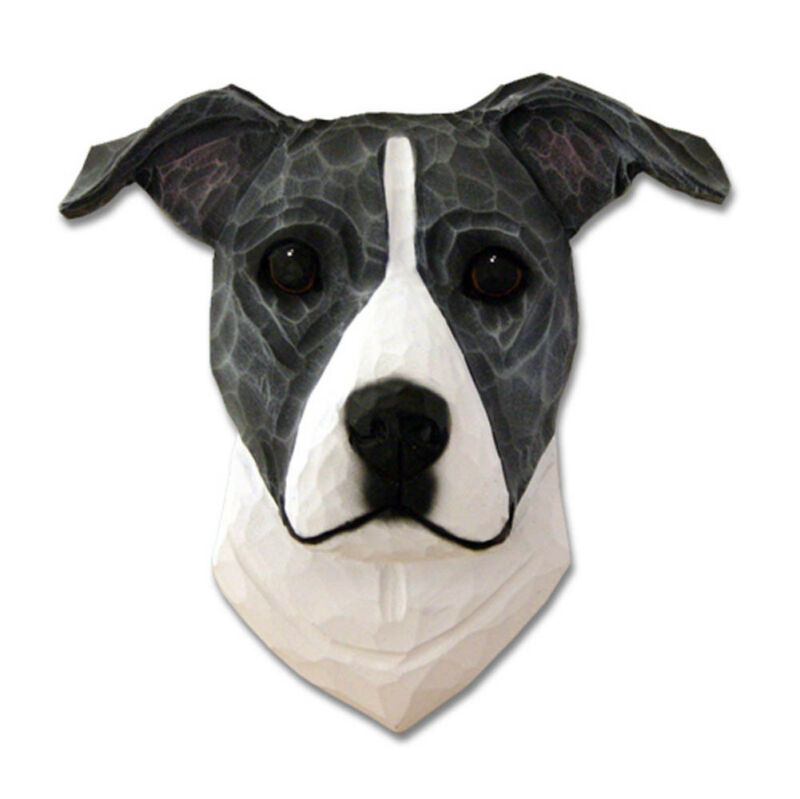Am.Staffordshire Terrier Head Plaque Figurine Blue/White Uncropped