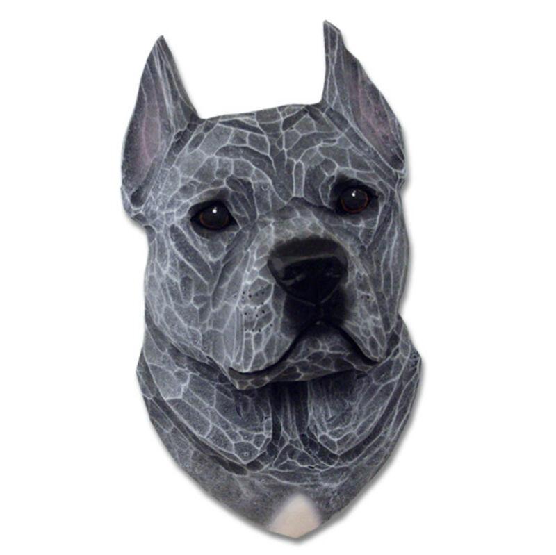 American Staffordshire Terrier Head Plaque Figurine Blue