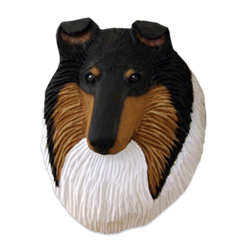 Collie Head Plaque Figurine Tri Rough