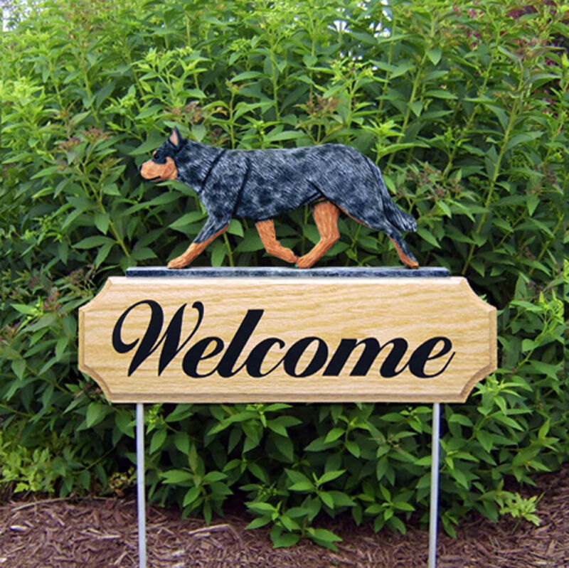 Australian Cattle Dog Wood Welcome Outdoor Sign Blue