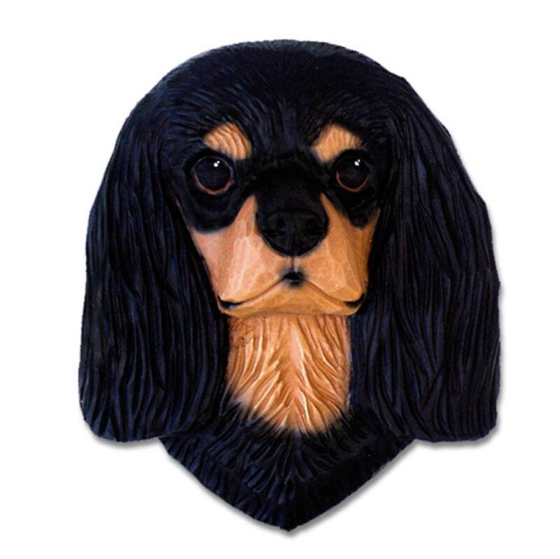 Cavalier King Charles Spaniel Head Plaque Figurine Black & Tan
