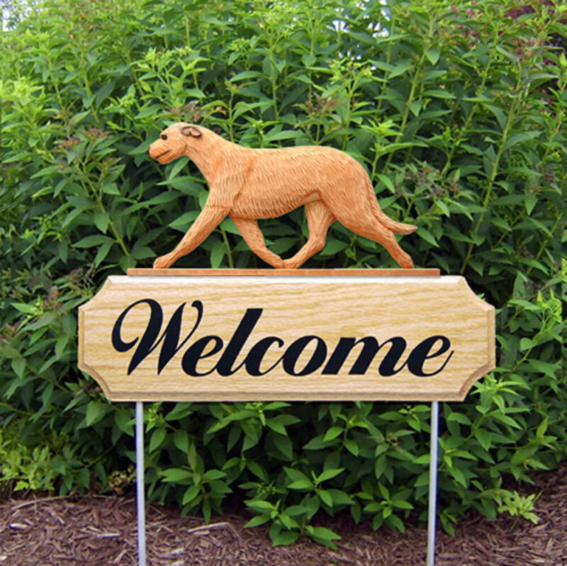 Irish Wolfhound Wood Welcome Outdoor Sign Fawn