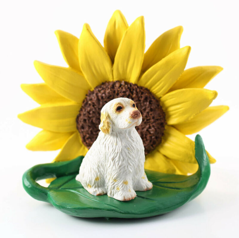 Clumber Spaniel Sunflower Figurine