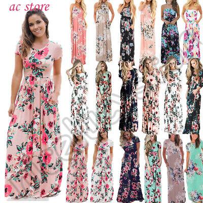 Damen Boho Blumen Lang Kleider Maxikleid Party Abend Sommer Strandkleid Hochzeit Blume Kleid Kleider