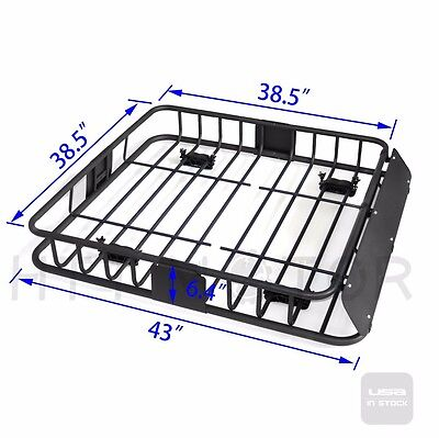 220 Lbs Epidemic Black Steel Cargo Carrier Roof Rack Basket Cross Bar SUV -HTT