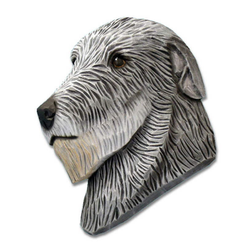 Irish Wolfhound Head Plaque Figurine Grey
