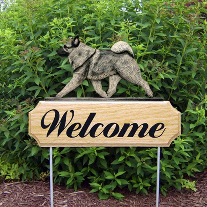 Norwegian Elkhound Wood Welcome Outdoor Sign