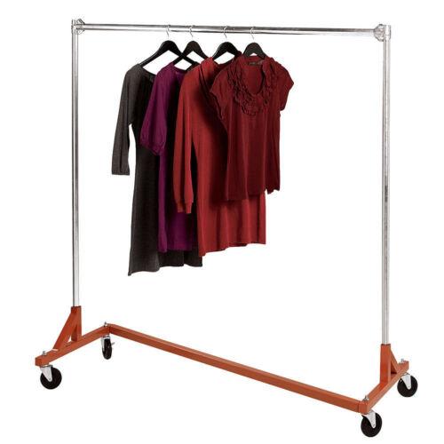Clothing Garment Rack Z-Truck Rolling Single Rail OSHA Heavy Duty 300 Pounds