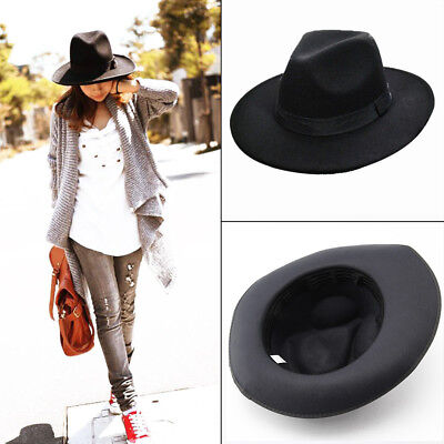 Vintage Womens Mens Ladies Wool Felt Cloche Wide Brim Fedora Panama Hat Cap Chic