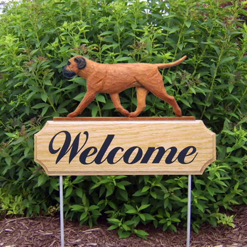 Bull Mastiff Wood Welcome Outdoor Sign Red/Brown
