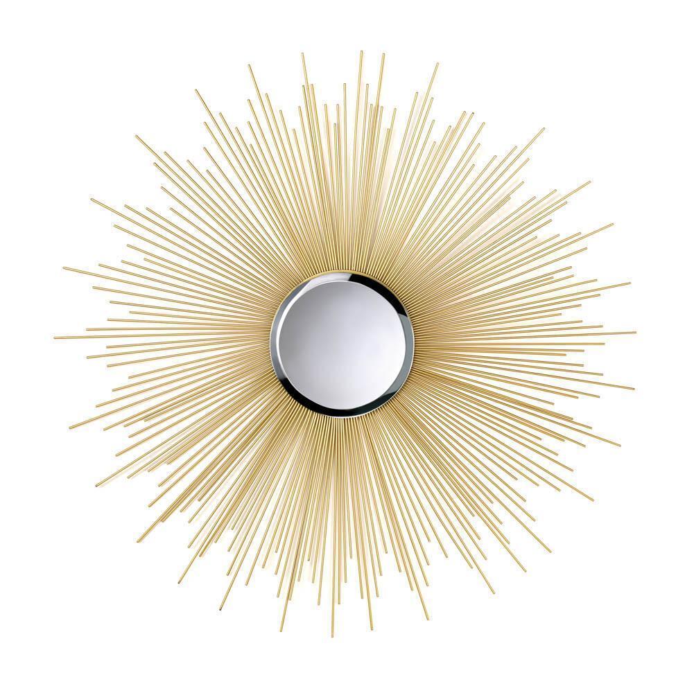 Golden Rays Wall Mount Round Mirror Modern 32\