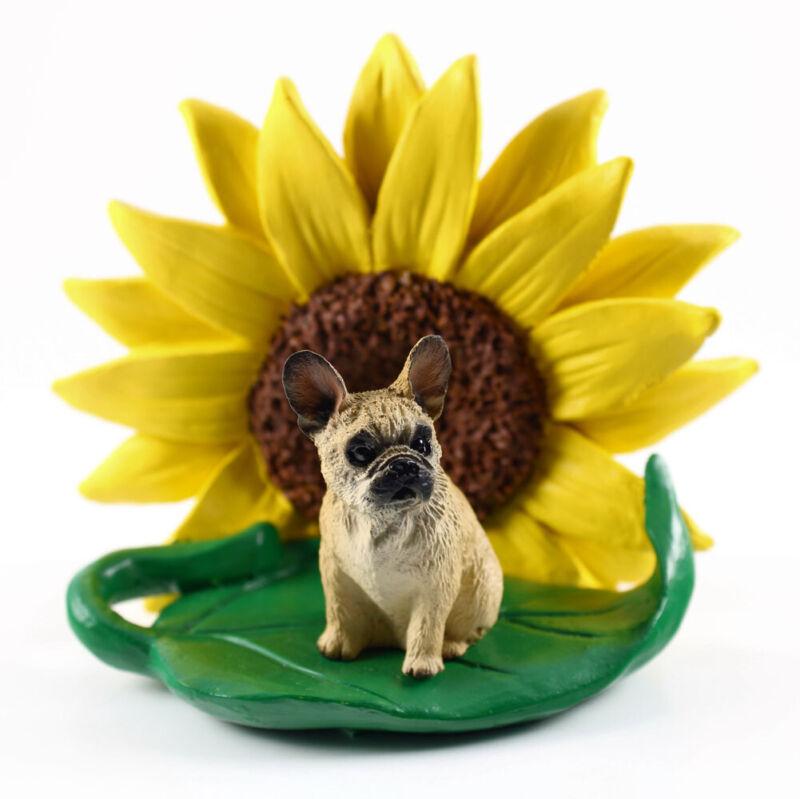 French Bulldog Sunflower Figurine Cream