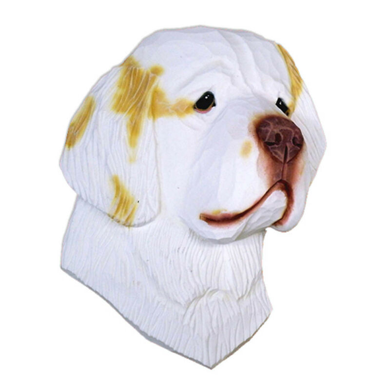 Clumber Spaniel Head Plaque Figurine Lemon