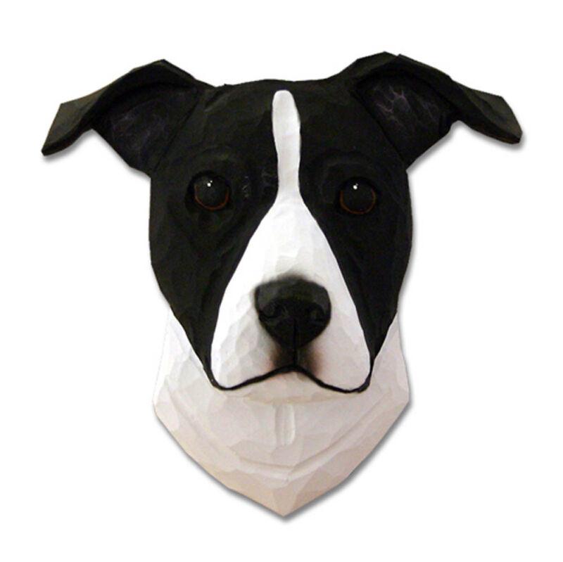 Am.Staffordshire Terrier Head Plaque Figurine Black/White Uncropped