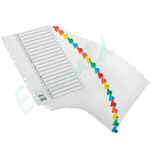 A - Z Subject File Dividers A4 Coloured Index Tabs SAME DAY DISPATCH