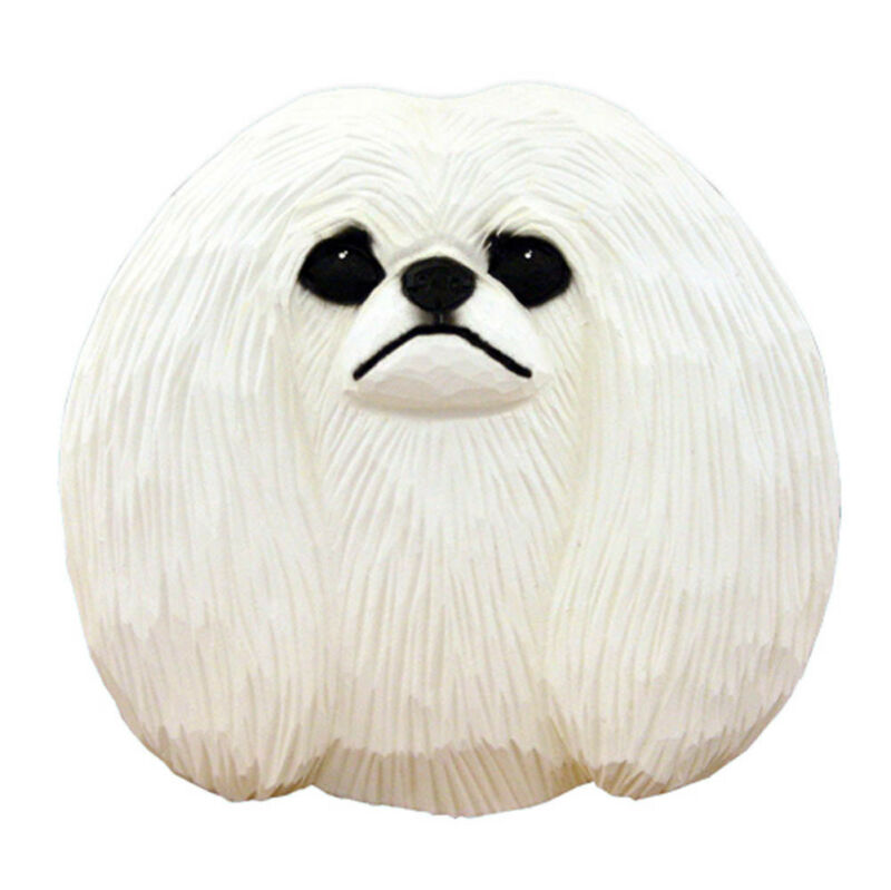 Pekingese Head Plaque Figurine White