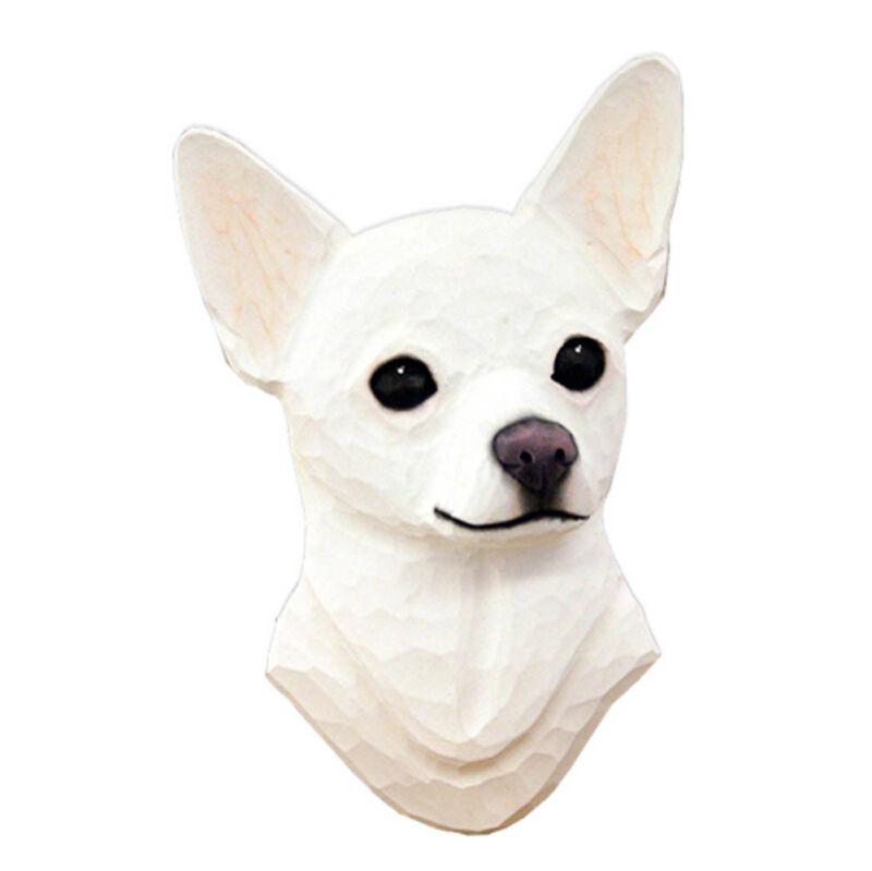 Chihuahua Head Plaque Figurine White