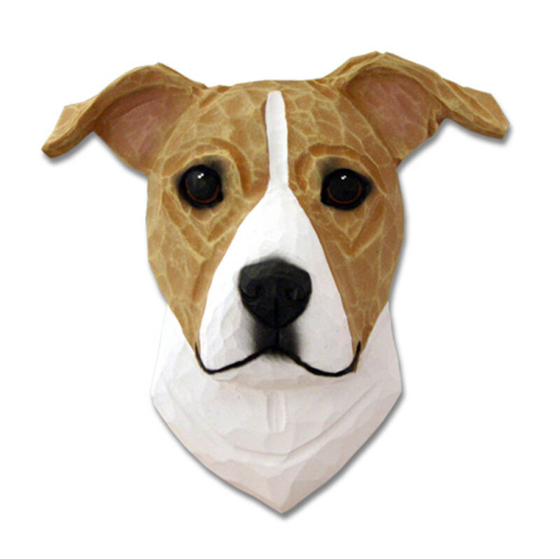 Am.Staffordshire Terrier Head Plaque Figurine Fawn/White Uncropped