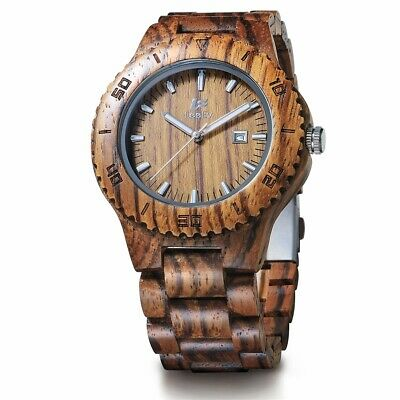 Luxus Herrenuhren Quarz Holz Analog Herren Sport Armbanduhr Mode DE