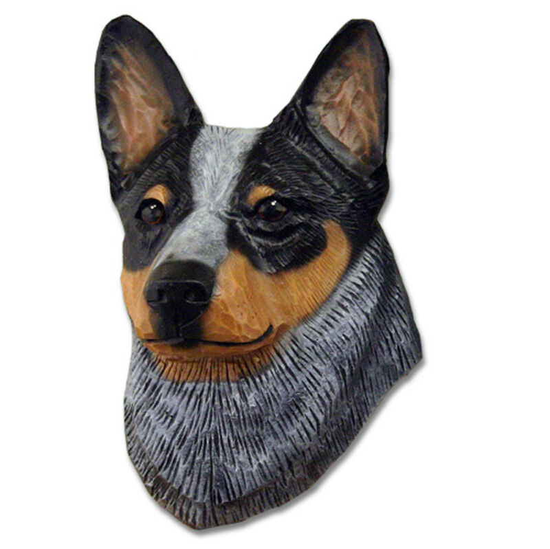 Australian Cattle Dog Head Plaque Figurine Blue