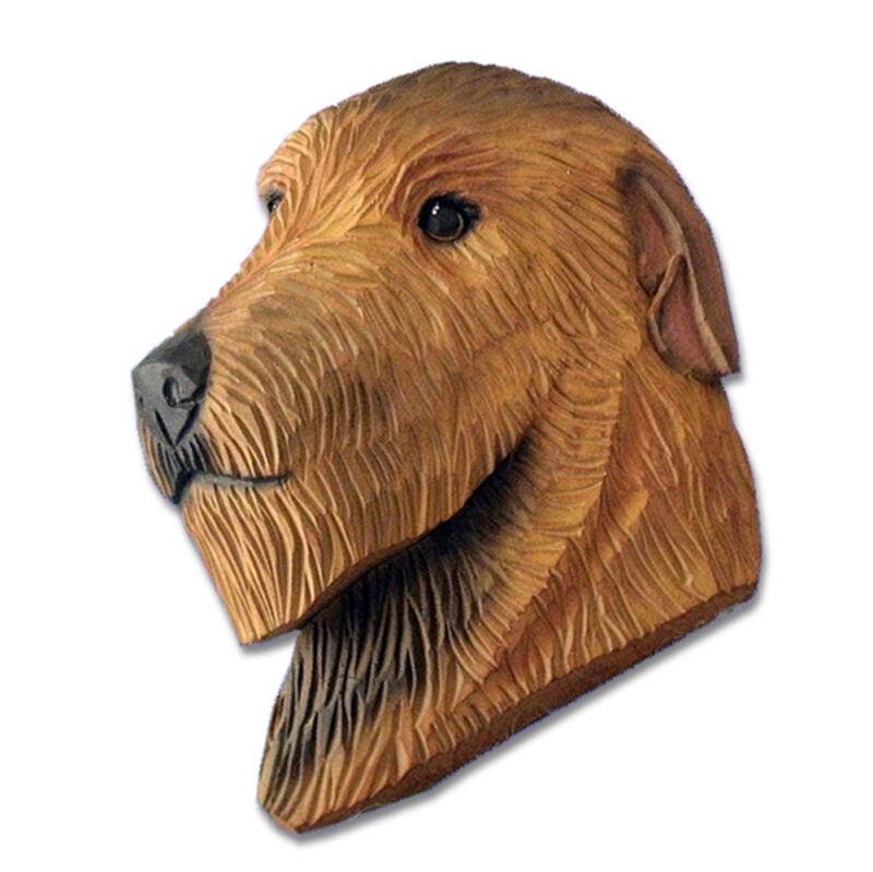 Irish Wolfhound Head Plaque Figurine Red