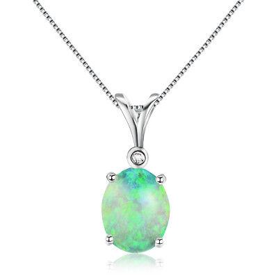 Fashion Charm Oval Shape Fire Opal CZ Necklace Pendant 925 Silver Chain Jewelry
