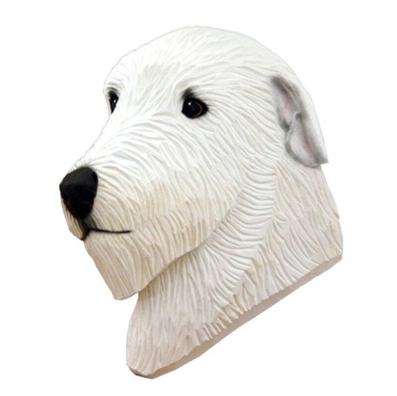 Irish Wolfhound Head Plaque Figurine White