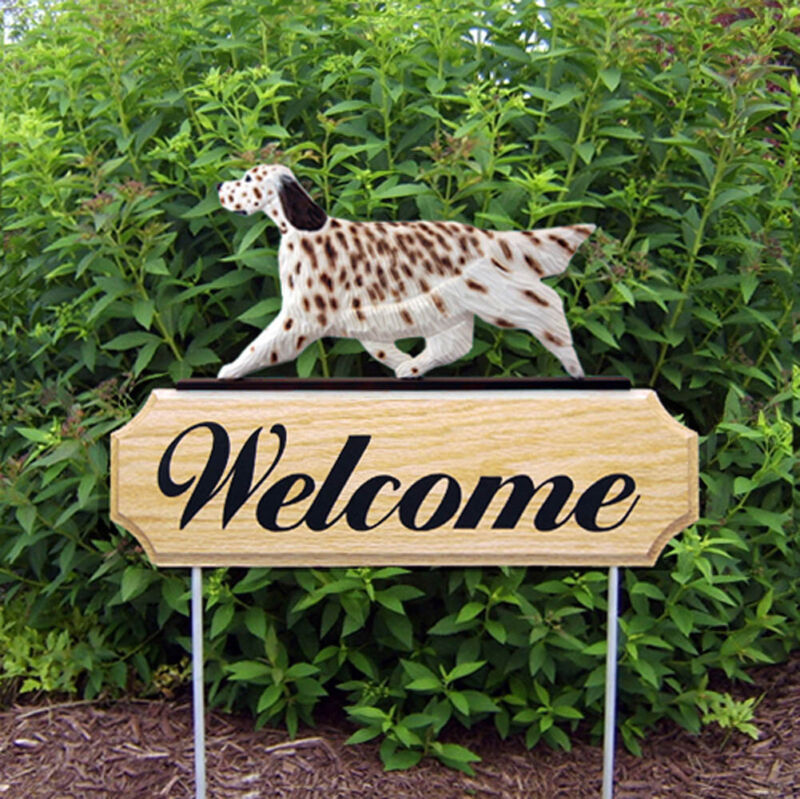 English Setter Wood Welcome Outdoor Sign Liver
