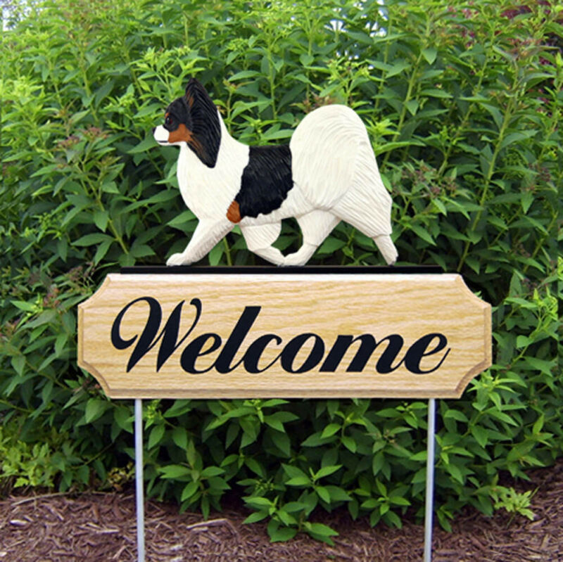 Papillon Wood Welcome Outdoor Sign Tri Color