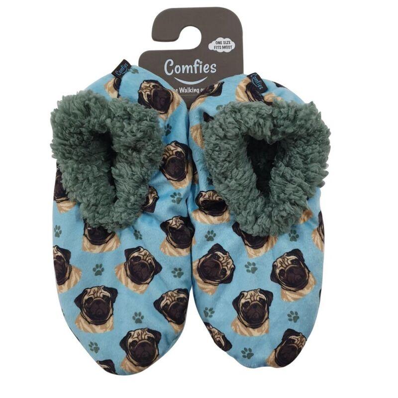 Pug Slippers Fawn - Non Slip
