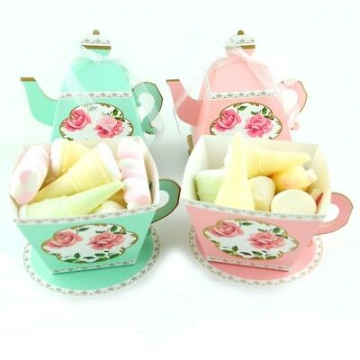 50/100Pcs TeaPot Paper Boxes Candy Sweets Cookies Biscuits Party Favour Gift Bag (Cookie Favor Boxes)