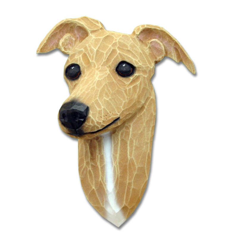 Italian Greyhound Head Plaque Figurine Fawn