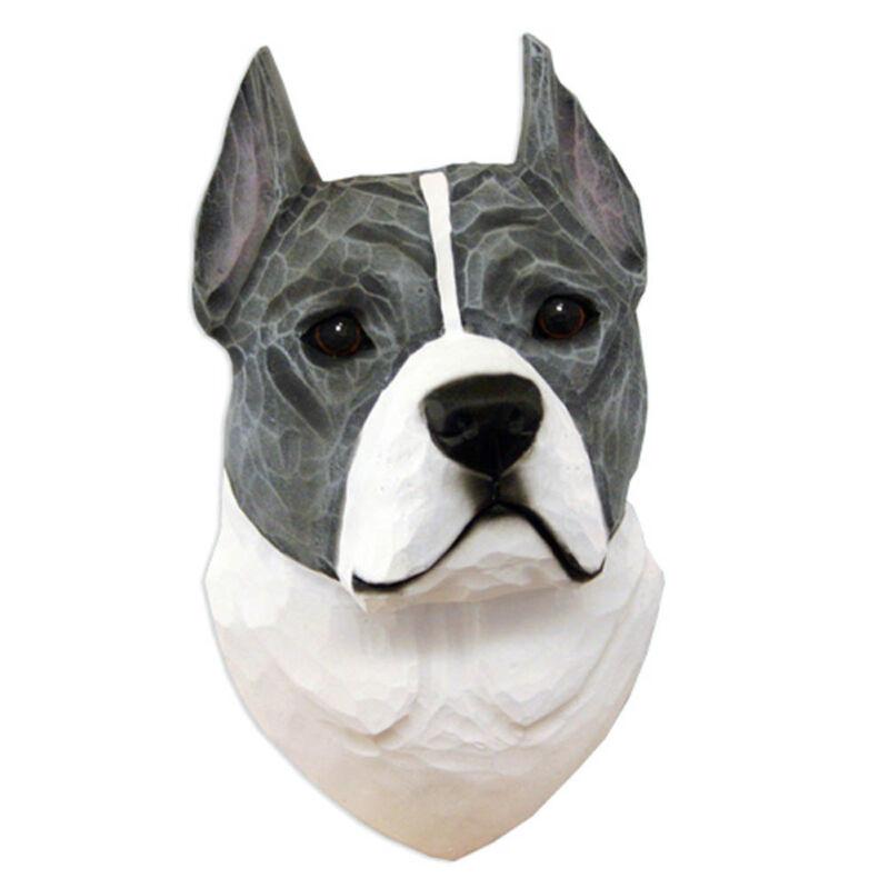 American Staffordshire Terrier Head Plaque Figurine Blue/White