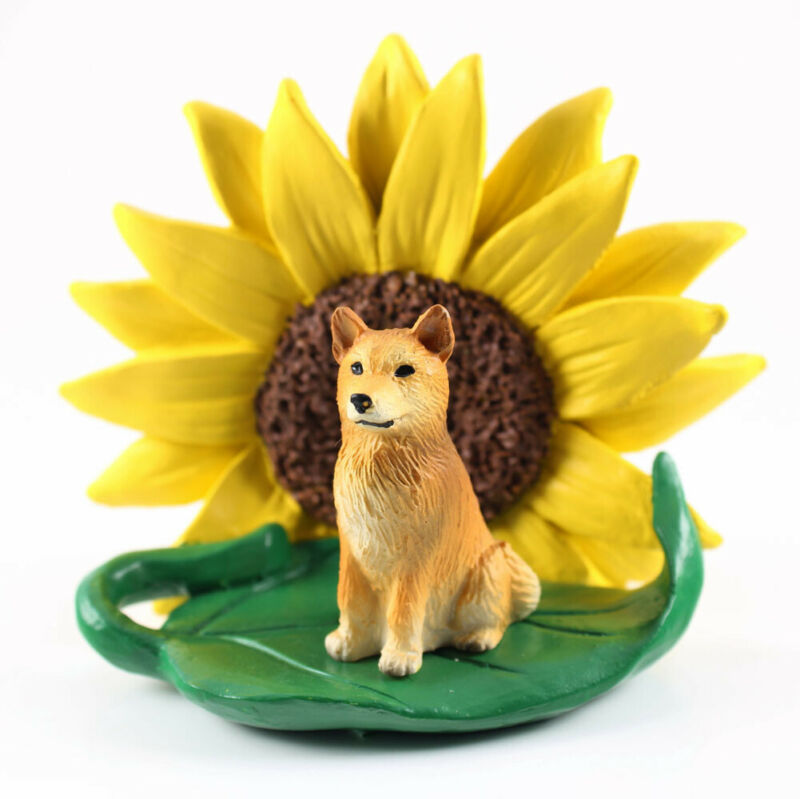 Finnish Spitz Sunflower Figurine