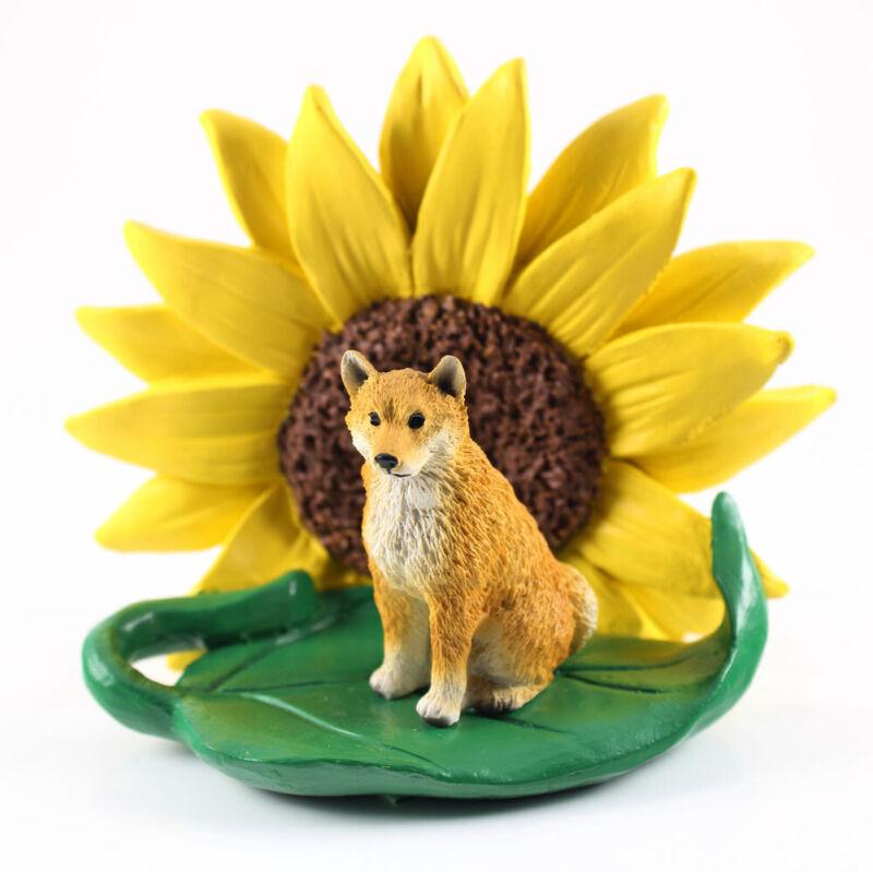 Shiba Inu Sunflower Figurine