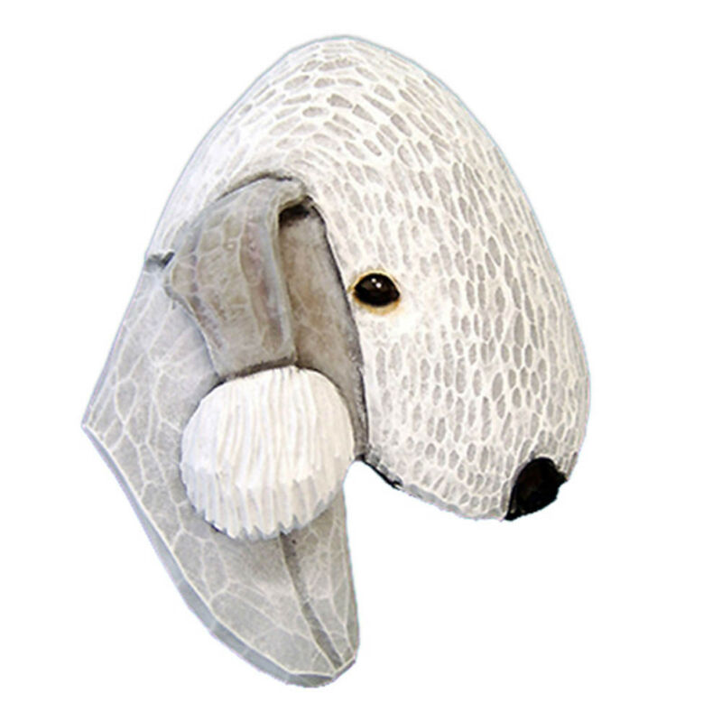 Bedlington Terrier Head Plaque Figurine White