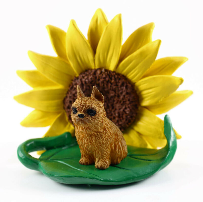 Brussels Griffon Sunflower Figurine Red