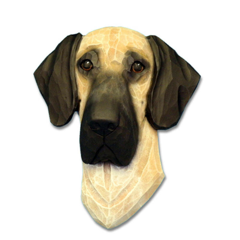 Great Dane Head Plaque Figurine Fawn Uncropped