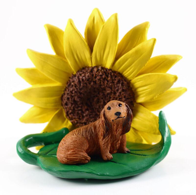 Dachshund Sunflower Figurine Red Long