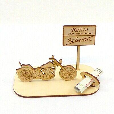 Geschenk zur Rente mit Namensgravur, Chopper, Bike, Personalisiert aus Holz
