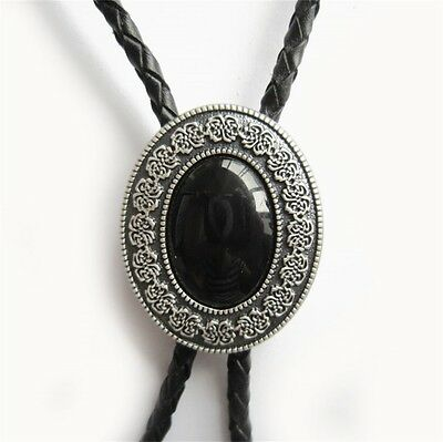 New Classic Vintage Silver Plated Black Obsidian Stone Bolo Tie also Stock in US