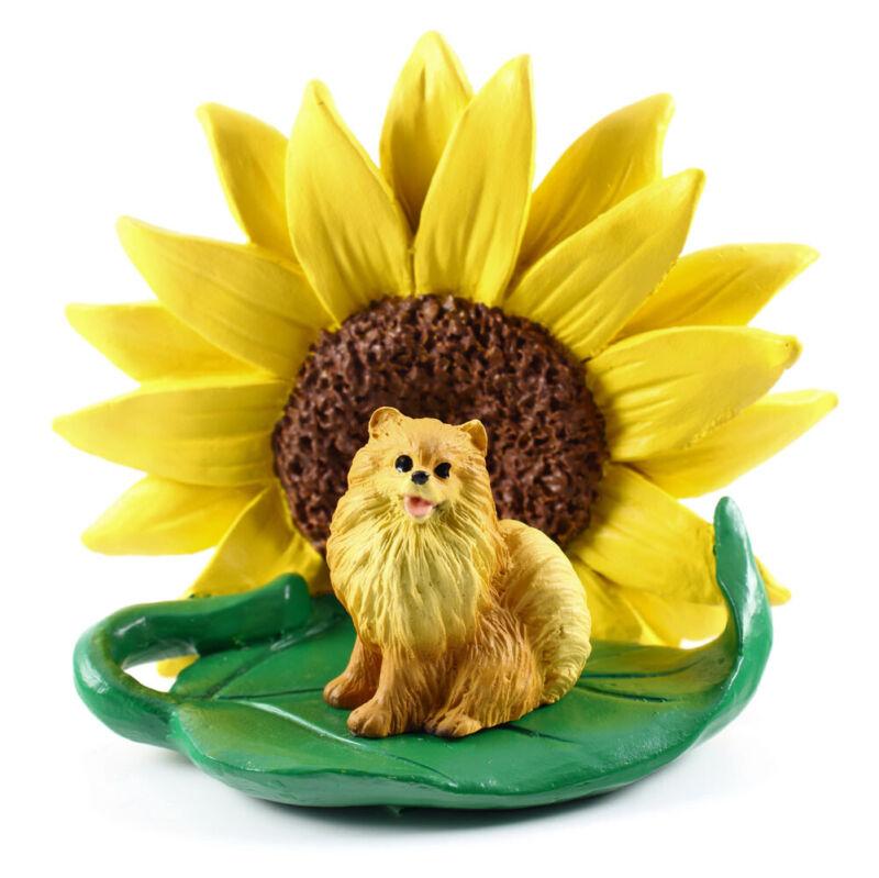 Pomeranian Sunflower Figurine Red
