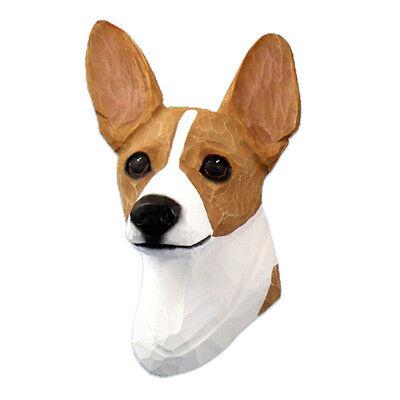 Rat Terrier Head Plaque Figurine Red/White