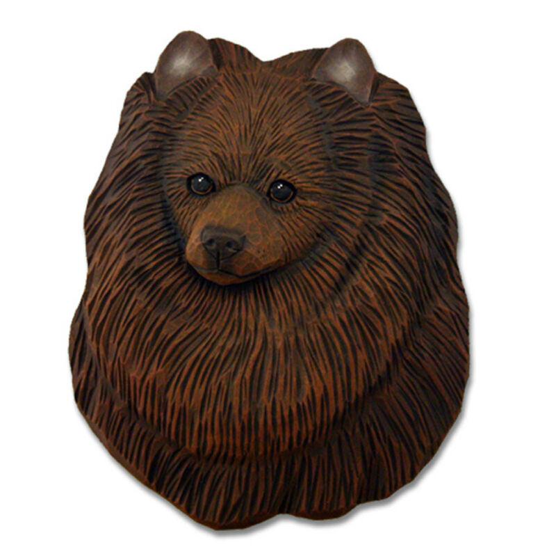 Pomeranian Head Plaque Figurine Brown