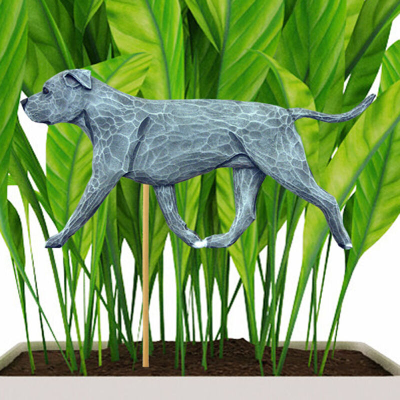 American Staffordshire Bull Terrier Planter Pick Stake Blue Uncropped