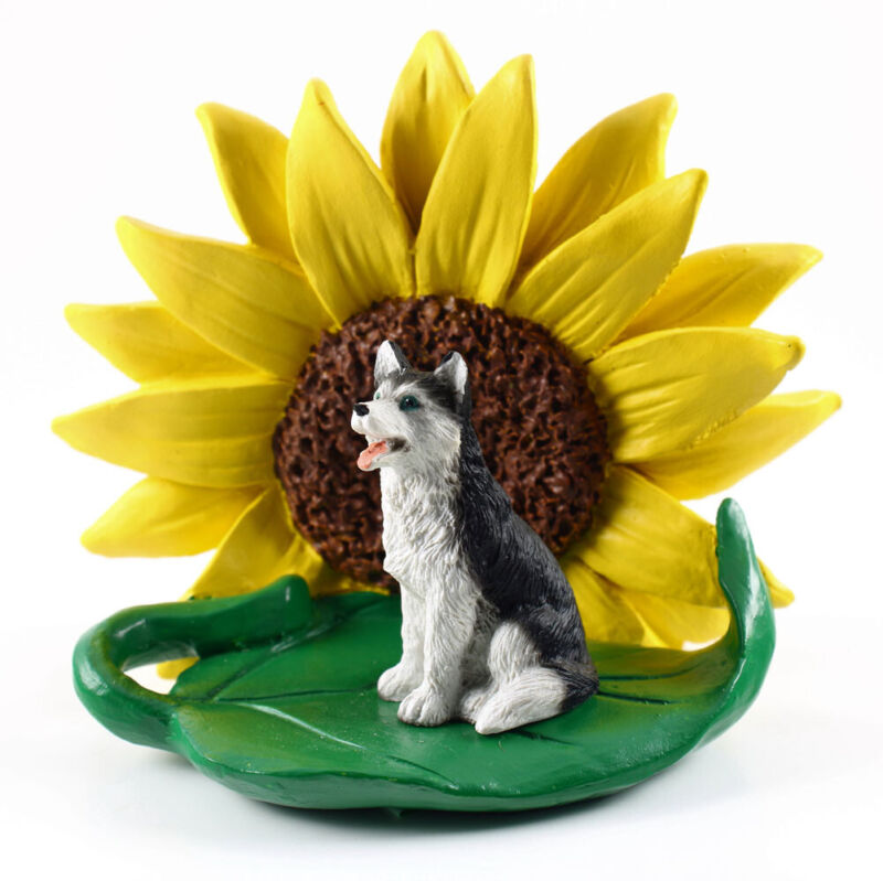Husky Sunflower Figurine Black Blue Eye